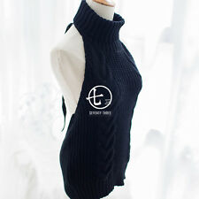 Black】Sexy Women's Backless Sleeveless Sweater High Collar KNIT Japanese Style
