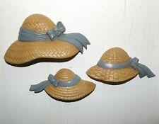 Set Of 3 Vintage Home Interior Beige & Blue Hat Wall Hangings