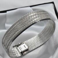 Solid 925 Sterling Silver 1977 Vintage Semi Matte Textured Strap Style Bracelet