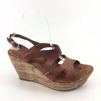 Born Women's Sz 8 EUR 39 Brown Leather Cork Wedge Espadrille Sandals F23