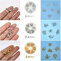 70Pcs 6mm Alloy Open Jump Ring Lobster Clasp Hook DIY Jewelry Making With Box
