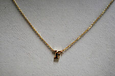 14K SOLID YELLOW GOLD INITIAL NECKLACE ON 14K CABLE CHAIN - LETTER F