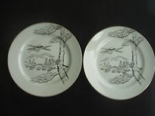 PAIR OF ORIENTAL E. & O. CHINA TEA / SIDE PLATES -WHITE WITH SILVER PATTERN