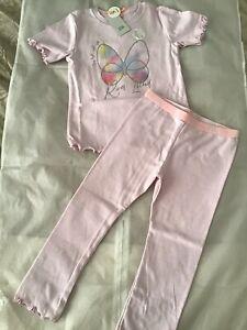 River Island Mini Girls Aged 3-4 Years Purple Logo Butterfly Pyjamas Set BNWT