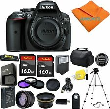 Nikon D5300 24.2 MP Digital SLR Camera Body + 32GB Top Accessory Bundle
