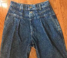Vtg  80'S 90's ACID WASH  JEANS HIGH WAIST/  pleated front taper leg  DENIM 13