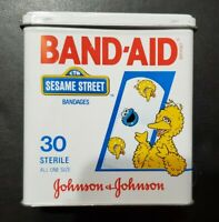 NICE VINTAGE EMPTY BAND AID SESAME STREET BIG BIRD METAL TIN JOHNSON & JOHNSON