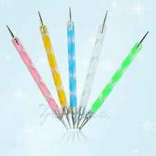 2-Way 5x Nail Art Dotting Pen Crystal Marbleizing Tool Kit Set Manicure Painting