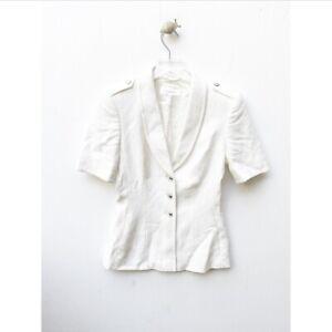 Escada Vintage Textured Short Sleeve Button Down Blazer Jacket 34 S Small Rayon