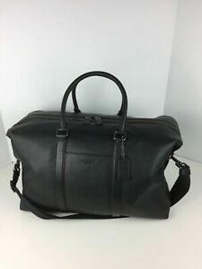 COACH F75715 Trekker Duffle Overnight Travel Bag Men's Leather Black NWT