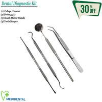 Set de 4 Diagnóstico Dentales Instrumentos para Laboratario Explorador y Sondas