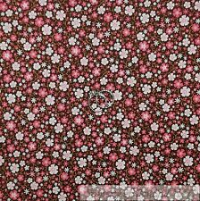 BonEful Fabric Cotton Quilt VTG Brown Pink White Small S Dot Calico Flower SCRAP