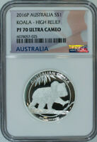 2016 P Koala High Relief 1 OZ Silver / NGC Proof 70 UC Australian PR70 / FRESH