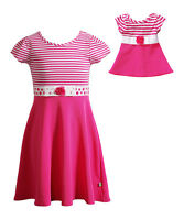 "Dollie & Me Girl 4-6 and 18"" Doll Matching Pink Dress Clothes fit American Girls"