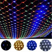 96/200/880LED Fairy Net Mesh Curtain String Lights Xmas Wedding Party Decor Lamp