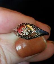 14K White Gold Vintage Filigree Diamond Ring  FREE SIZING!