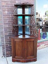 Southern Antique Victorian Rosewood Corner Cupboard cabinet shelf fretwork
