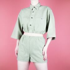 VINTAGE Twin Two Piece Grunge Green Beige Crop Check 90s Shirt Top Shorts 10 S