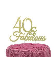 40 & Fabulous Cake Topper - Glittery Gold - 40th Birthday Cake Topper
