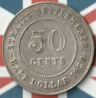 1920 Straits Settlement 50 Cents- 50% AG- A pretty nice example~