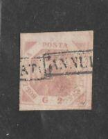 1858 NAPOLI 2 GRANA ROSA BRUNASTRO TAVOLA III - USATO - ANNULLATO