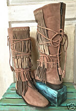 NEW Free People X faryl robin tan suede Tall Lace Up Fringed Boots 8 $328