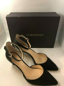 ENZO ANGIOLINI BLACK ANKLE STRAP HEELS - FAUX FUR - SIZE 11