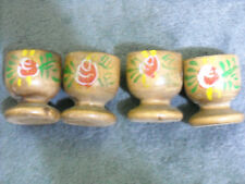 Miniature Wood Hand Painted Goblet Set of Four with Flowers Diorama Collectible