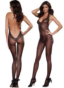 Sheer Black Bodystocking Open Crotch Body Stocking Nightwear Babysuit Babydoll