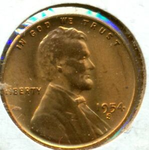 1954-S LINCOLN CENT, GEM BRILLIANT UNCIRCULATED RED. GREAT PRICE!