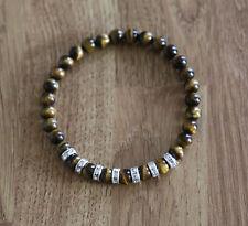 Bracelet with natural 6 mm  Tiger's eye gemstones