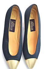 Baldinini Rinaldi navy black gold heels shoe size 38.5 US 8.5 Made in Italy