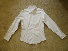 Brooks Brothers White Beige Striped Shirt Blouse Women's Size 6 cotton Lycra