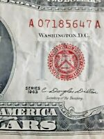 SERIES OF 1963  $2 DOLLAR BILL NOTE RED SEAL UNIQUE RARE 8/10