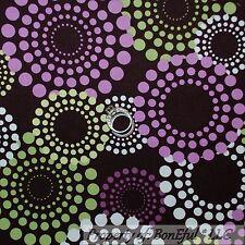 BonEful Fabric FQ Cotton Quilt Brown Purple Green White Polka Dot Circle Calico