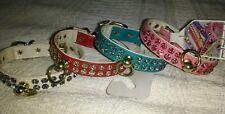 Designer Mirage  twin row multi colors Diamante dog puppy collar medium small xs