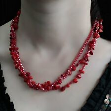 Ancient Wisdom Chip stone & Bead Necklace - Red Coral
