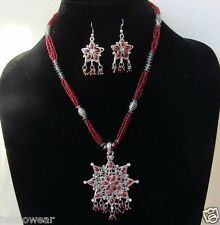 Antique Silver/Multi Collar/Choker/Charm Necklace/Earrings Set by Teknowear