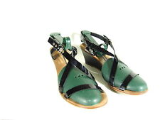 KATE SPADE PATENT LEATHER ANKLE STRAP WEDGE SZ.8.5 BLACK                     016