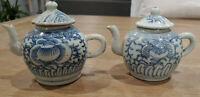 Early 19th Century Qing Dynasty Antique Blue and White Porcelain Teapots