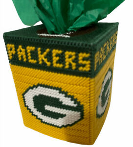 "Packers Football Needlepoint Tissue Box Cover 5.6""x4.5"" Handmade Wisconsin Craft"