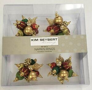 NWT Kim Seybert Living Set of 4 Red Green Gold Beaded Ornament Napkin Rings