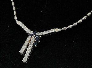 14K white gold elegant 1.81CTW VS diamond/Blue sapphire formal pendant necklace