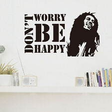 Don't Worry Be Happy Wall Sticker BOB MARLEY Musician Quote Vinyl Decal Decor