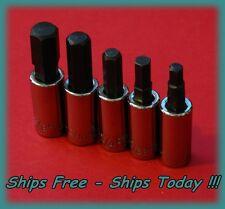 """Craftsman 1/4"""" Drive 5 Piece Hex Allen Key Bit SAE Socket Set Standard STD Inch"""