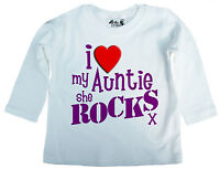 "Baby Auntie T-Shirt ""I Love My Auntie She Rocks"" Long Sleeve Top Tee Boy Girl"