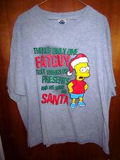 BART SIMPSON Christmas lrg T shirt retro cartoon SIMPSONS tee Fat Guy joke FOX