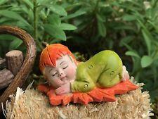 Miniature FAIRY GARDEN Figurine ~ Fall HALLOWEEN Mini Sleeping Orange Leaf Baby
