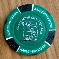 newest Vietnam Harley Davidson poker chip Sai Gon Ho Chi Minh city, green-black