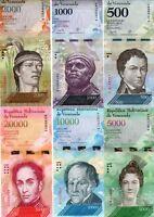 LOT SET SERIE 6 BILLETS VENEZUELA 500 - 20000 BOLIVARES 2016 - 2017 UNC NEUF